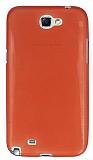 Samsung N7100 Galaxy Note 2 Ultra İnce Şeffaf Koyu Pembe Silikon Kılıf