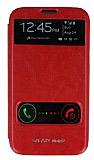 Eiroo Samsung N7100 Galaxy Note 2 Vantuzlu �ift Pencereli K�rm�z� Deri K�l�f