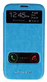 Eiroo Samsung N7100 Galaxy Note 2 Vantuzlu �ift Pencereli Mavi Deri K�l�f