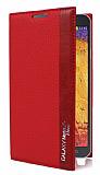 Samsung N7500 Galaxy Note 3 Neo Gizli Mıknatıslı İnce Yan Kapaklı Kırmızı Deri Kılıf
