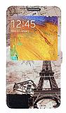 Eiroo Samsung N7500 Galaxy Note 3 Neo Gizli M�knat�sl� Pencereli Paris Map Deri K�l�f