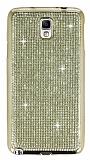 Eiroo Samsung N7500 Galaxy Note 3 Neo Taşlı Gold Silikon Kılıf