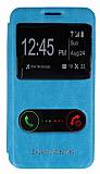 Eiroo Samsung N7500 Galaxy Note 3 Neo Vantuzlu Çift Pencereli Mavi Deri Kılıf