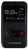 Eiroo Samsung N7500 Galaxy Note 3 Neo Vantuzlu �ift Pencereli Siyah Deri K�l�f