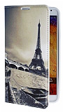 Eiroo Samsung N9000 Galaxy Note 3 Eiffel Kulesi Gizli M�knat�sl� Standl� Deri K�l�f