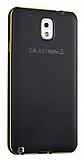 Eiroo Samsung Galaxy Note 3 Metal Kenarl� Siyah Rubber K�l�f