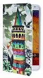 Eiroo Samsung N9000 Galaxy Note 3 Renkli Galata Kulesi Gizli M�knat�sl� Standl� Deri K�l�f
