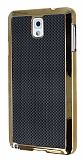Eiroo Samsung N9000 Galaxy Note 3 Gold Metal Kenarl� Siyah Rubber K�l�f