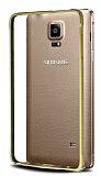Eiroo Samsung N9100 Galaxy Note 4 Gold Çizgili Metal Round Bumper Gold Kılıf