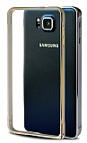 Eiroo Samsung Galaxy Alpha Gold Çizgili Metal Round Bumper Gold Kılıf