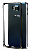 Eiroo Samsung Galaxy Alpha Gold Çizgili Metal Round Bumper Siyah Kılıf