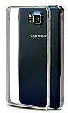 Eiroo Samsung Galaxy Alpha Gold Çizgili Metal Round Bumper Silver Kılıf