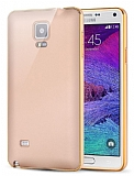 Eiroo Samsung N9100 Galaxy Note 4 Metal Kenarlı Gold Rubber Kılıf