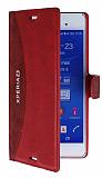 Eiroo Thunder Sony Xperia Z3 Standlı Cüzdanlı Kırmızı Deri Kılıf