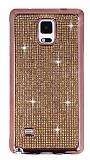 Eiroo Samsung N9100 Galaxy Note 4 Taşlı Rose Gold Silikon Kılıf