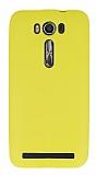 Asus ZenFone 2 Laser 5 inç Deri Desenli Ultra İnce Sarı Silikon Kılıf