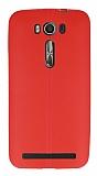 Asus ZenFone 2 Laser 5 inç Deri Desenli Ultra İnce Kırmızı Silikon Kılıf