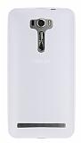 Asus Zenfone 2 Laser 6 inç Deri Desenli Ultra İnce Beyaz Silikon Kılıf
