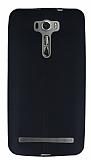 Asus Zenfone 2 Laser 6 inç Deri Desenli Ultra İnce Siyah Silikon Kılıf