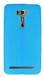 Asus Zenfone 2 Laser 6 inç Deri Desenli Ultra İnce Mavi Silikon Kılıf