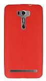 Asus Zenfone 2 Laser 6 inç Deri Desenli Ultra İnce Kırmızı Silikon Kılıf