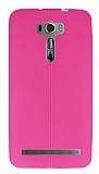 Asus Zenfone 2 Laser 6 inç Deri Desenli Ultra İnce Pembe Silikon Kılıf