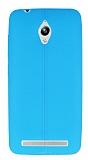 Asus ZenFone Go ZC500TG Deri Desenli Ultra İnce Mavi Silikon Kılıf
