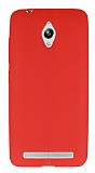Asus ZenFone Go ZC500TG Deri Desenli Ultra İnce Kırmızı Silikon Kılıf