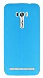 Asus Zenfone Selfie Deri Desenli Ultra İnce Mavi Silikon Kılıf