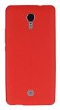 Casper Via E1C Deri Desenli Ultra İnce Kırmızı Silikon Kılıf