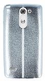 Eiroo Seams Fit LG G3 Stylus Ultra �nce Metalik Silver Silikon K�l�f