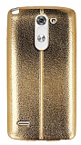 Eiroo Seams Fit LG G3 Stylus Ultra �nce Metalik Gold Silikon K�l�f