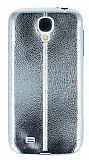 Fit Samsung Galaxy i9500 S4 Ultra İnce Metalik Silver Silikon Kılıf