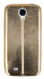 Eiroo Seams Fit Samsung Galaxy i9500 S4 Ultra �nce Metalik Gold Silikon K�l�f