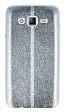 Eiroo Seams Fit Samsung Galaxy J5 Ultra �nce Metalik Silver Silikon K�l�f