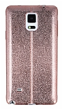 Eiroo Seams Fit Samsung N9100 Galaxy Note 4 Ultra �nce Metalik Rose Gold Silikon K�l�f