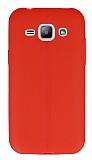 Samsung Galaxy J1 Deri Desenli Ultra İnce Kırmızı Silikon Kılıf