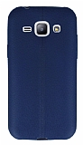 Samsung Galaxy J1 Deri Desenli Ultra İnce Lacivert Silikon Kılıf