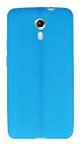 General Mobile Android One / General Mobile GM 5 Deri Desenli Ultra İnce Mavi Silikon Kılıf