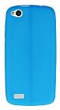 Eiroo Seams General Mobile Discovery Deri Desenli Ultra �nce Mavi Silikon K�l�f