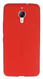 General Mobile GM 5 Plus Deri Desenli Ultra İnce Kırmızı Silikon Kılıf