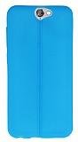 HTC One A9 Deri Desenli Ultra İnce Mavi Silikon Kılıf