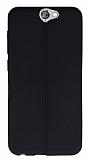 HTC One A9 Deri Desenli Ultra İnce Siyah Silikon Kılıf