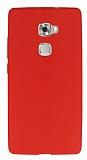 Huawei Ascend Mate S Deri Desenli Ultra İnce Kırmızı Silikon Kılıf