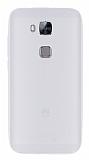 Huawei G8 Deri Desenli Ultra İnce Şeffaf Silikon Kılıf