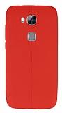 Huawei G8 Deri Desenli Ultra İnce Kırmızı Silikon Kılıf