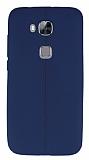 Eiroo Seams Huawei G8 Deri Desenli Ultra �nce Lacivert Silikon K�l�f