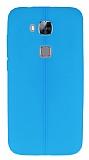 Huawei G8 Deri Desenli Ultra İnce Mavi Silikon Kılıf