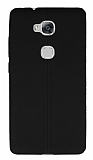 Huawei GR5 Deri Desenli Ultra İnce Siyah Silikon Kılıf