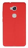 Huawei GR5 Deri Desenli Ultra İnce Kırmızı Silikon Kılıf